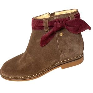 Hush Puppies Brown and Burgundy Suede Ankle Boots